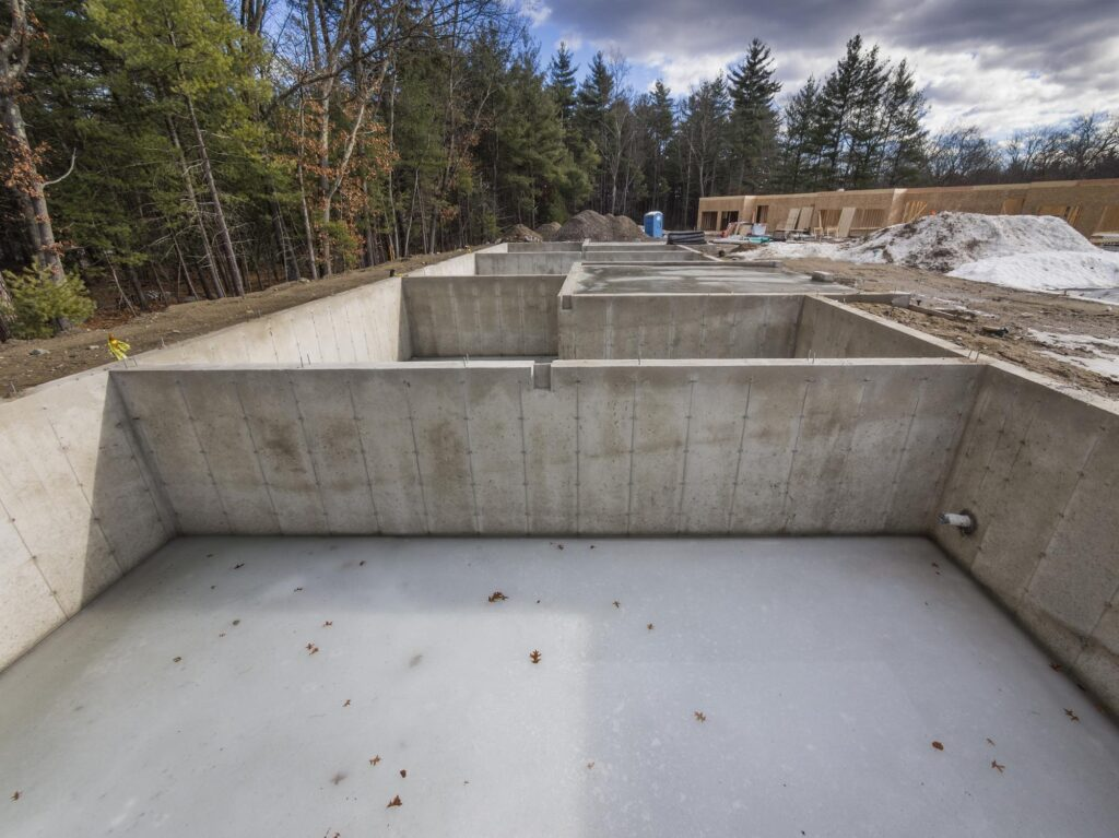 a newly construct concrete slabs